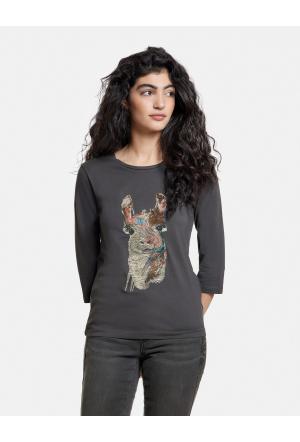 Shirt mit Lama-Stickerei aus G