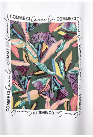 flower partprint shirt - 30000