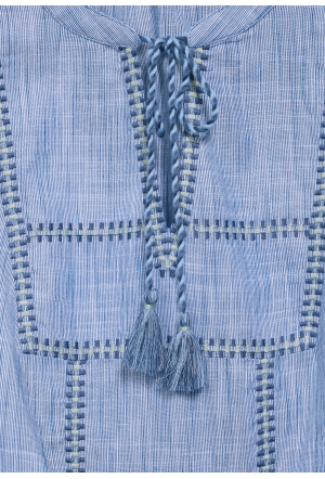 Chambray tunicblouse w embroid
