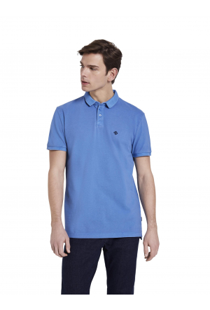 washed polo with print - 17723